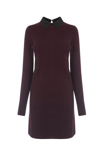 Oasis, Embellished collar swing dress Burgundy 0