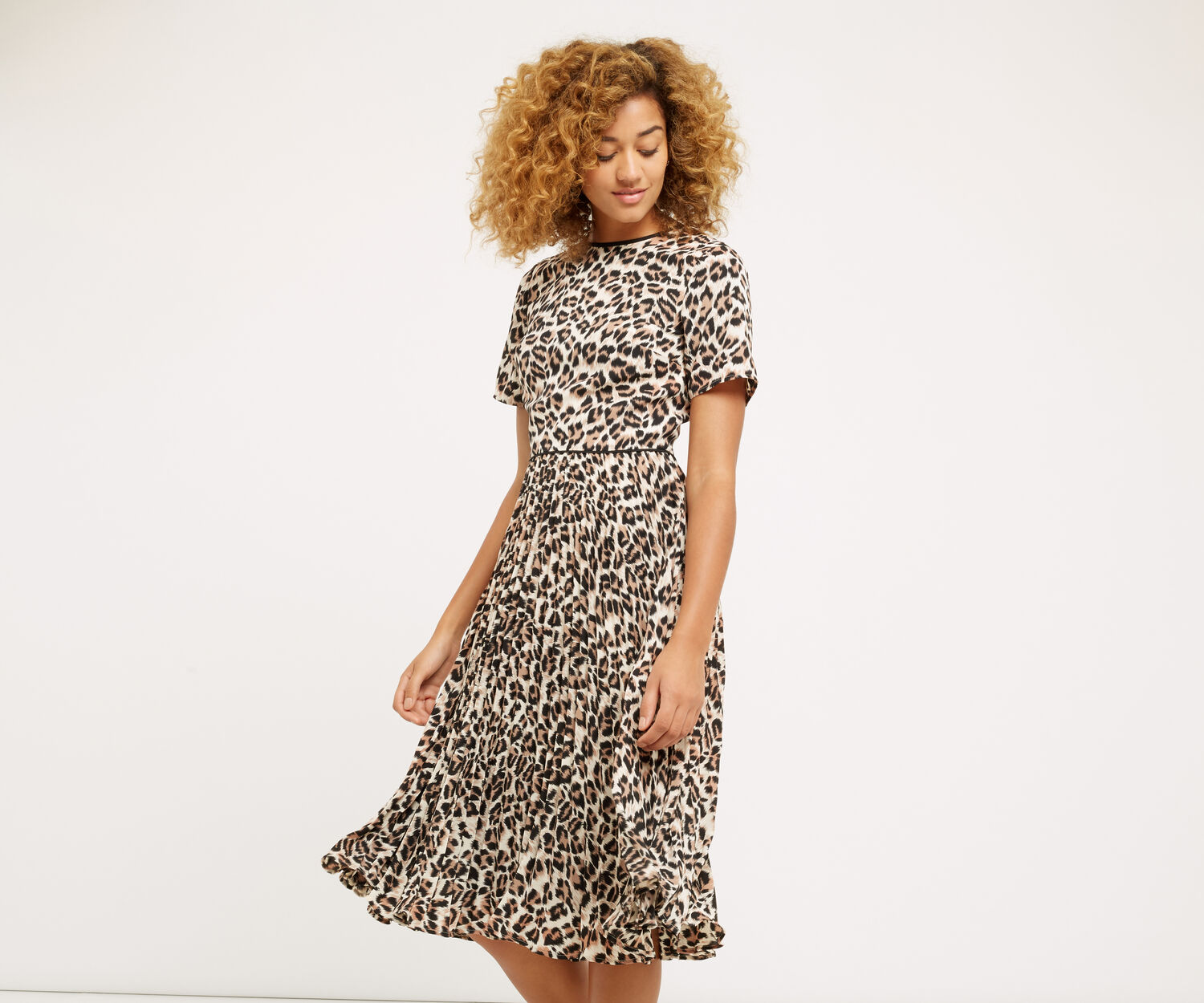 Oasis, ANIMAL PLEAT MIDI DRESS Multi 1