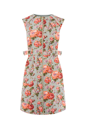 Oasis, ROSE TEXTURE SHIFT DRESS Mid Green 0