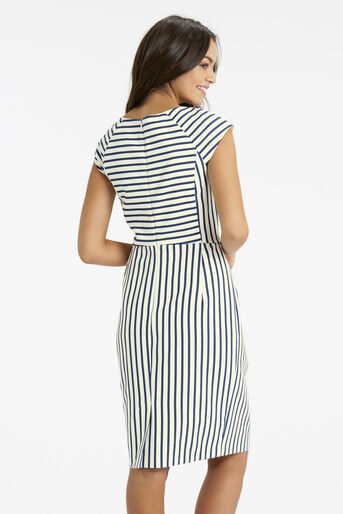 Oasis, Stripe Pencil Dress Multi Blue 3