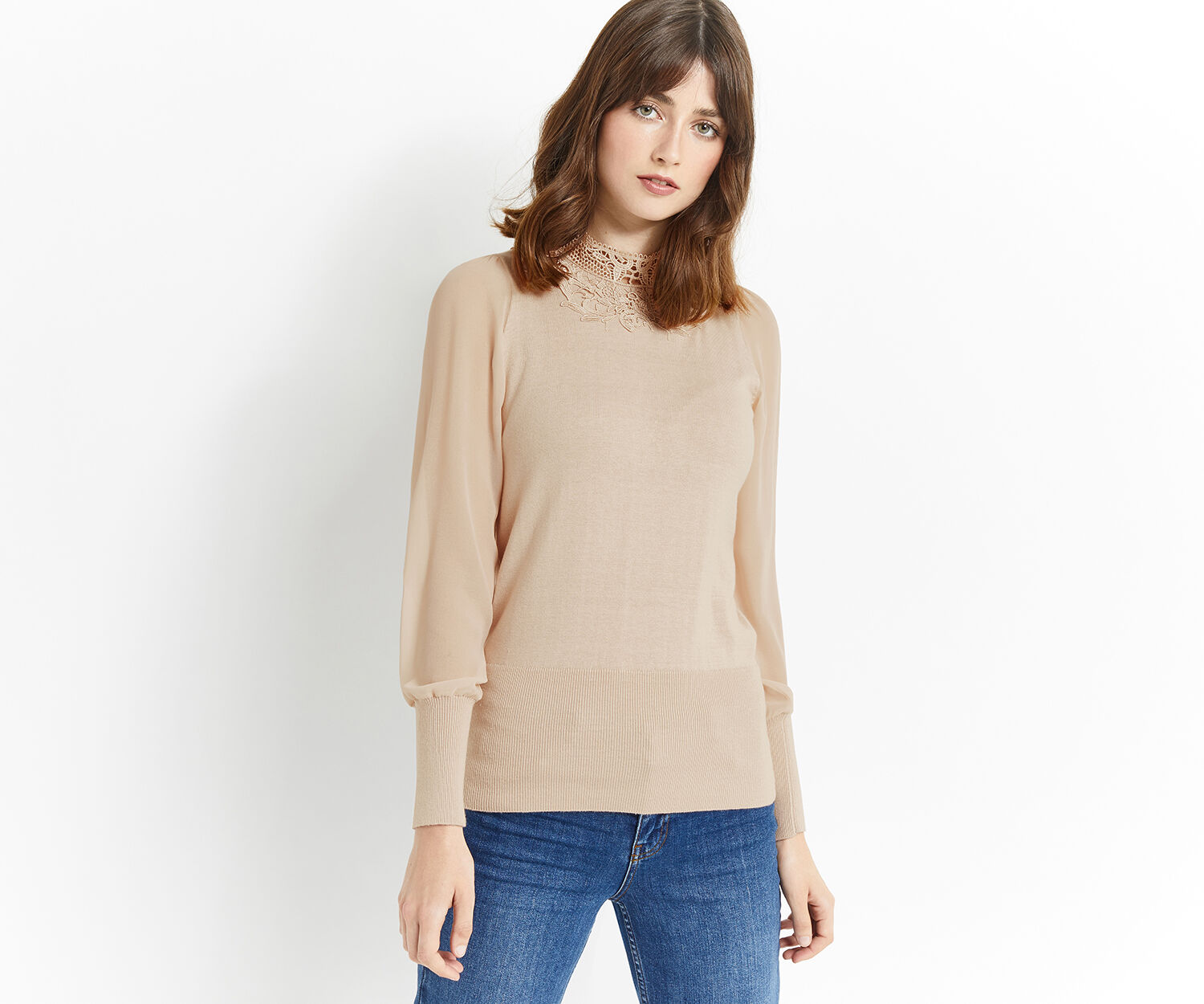 Oasis, LACE SHEER SLEEVE KNIT Light Neutral 1
