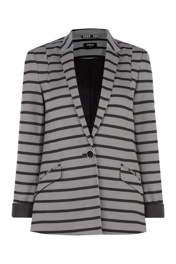 Oasis, Stripe Ponte Jacket Black and White 0