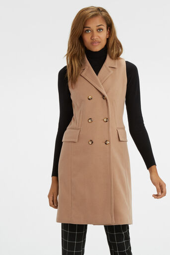 Oasis, Sleeveless Coat Camel 1