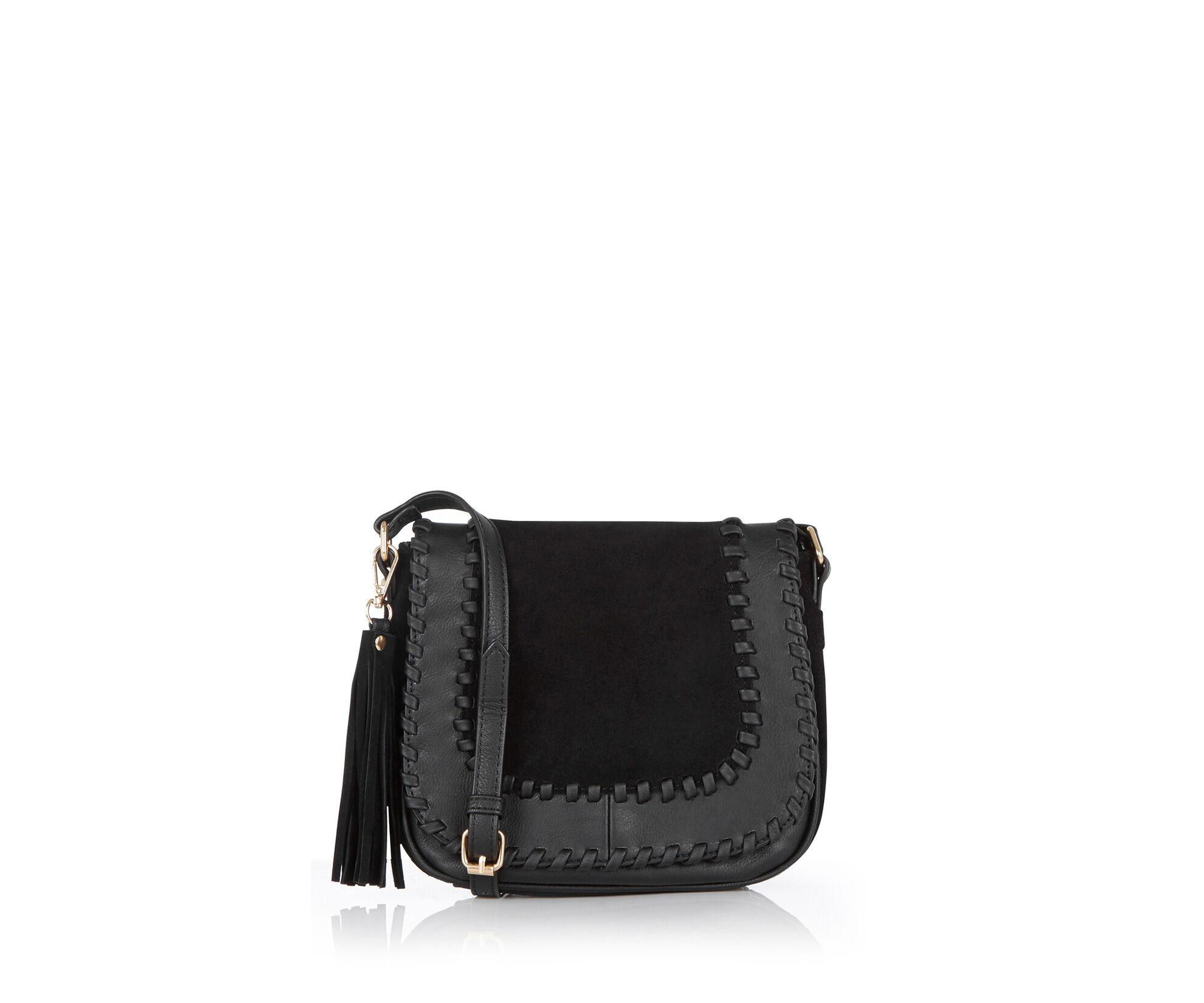 Oasis, Suede Patched Saddle Bag Black 0