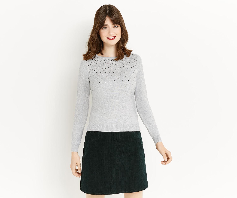 Oasis, Studded jumper Mid Grey 1