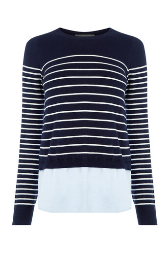 Oasis, Stripe chambray jumper Navy 0