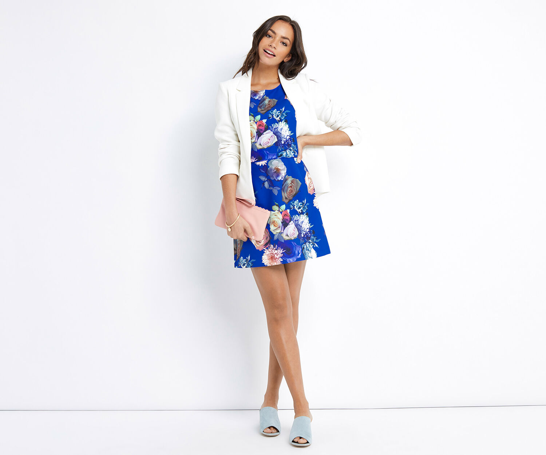 Oasis, SHORT ROSE DRESS Multi Blue 1