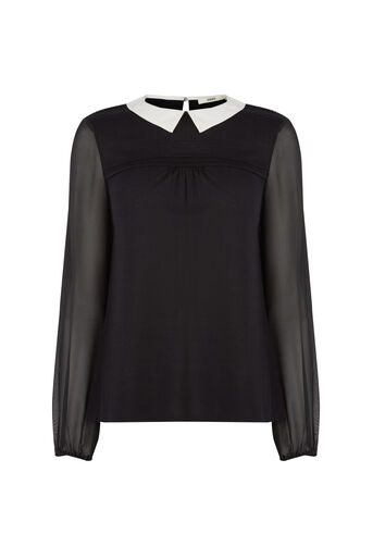 Oasis, Pintuck Shoulder Blouse Black 0