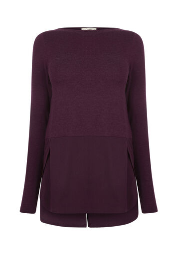 Oasis, WOVEN TRIM SWEAT TOP Dark Purple 0