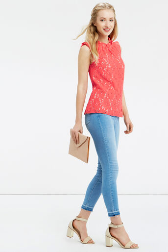 Oasis, LACE RUCHED TOP Coral 2