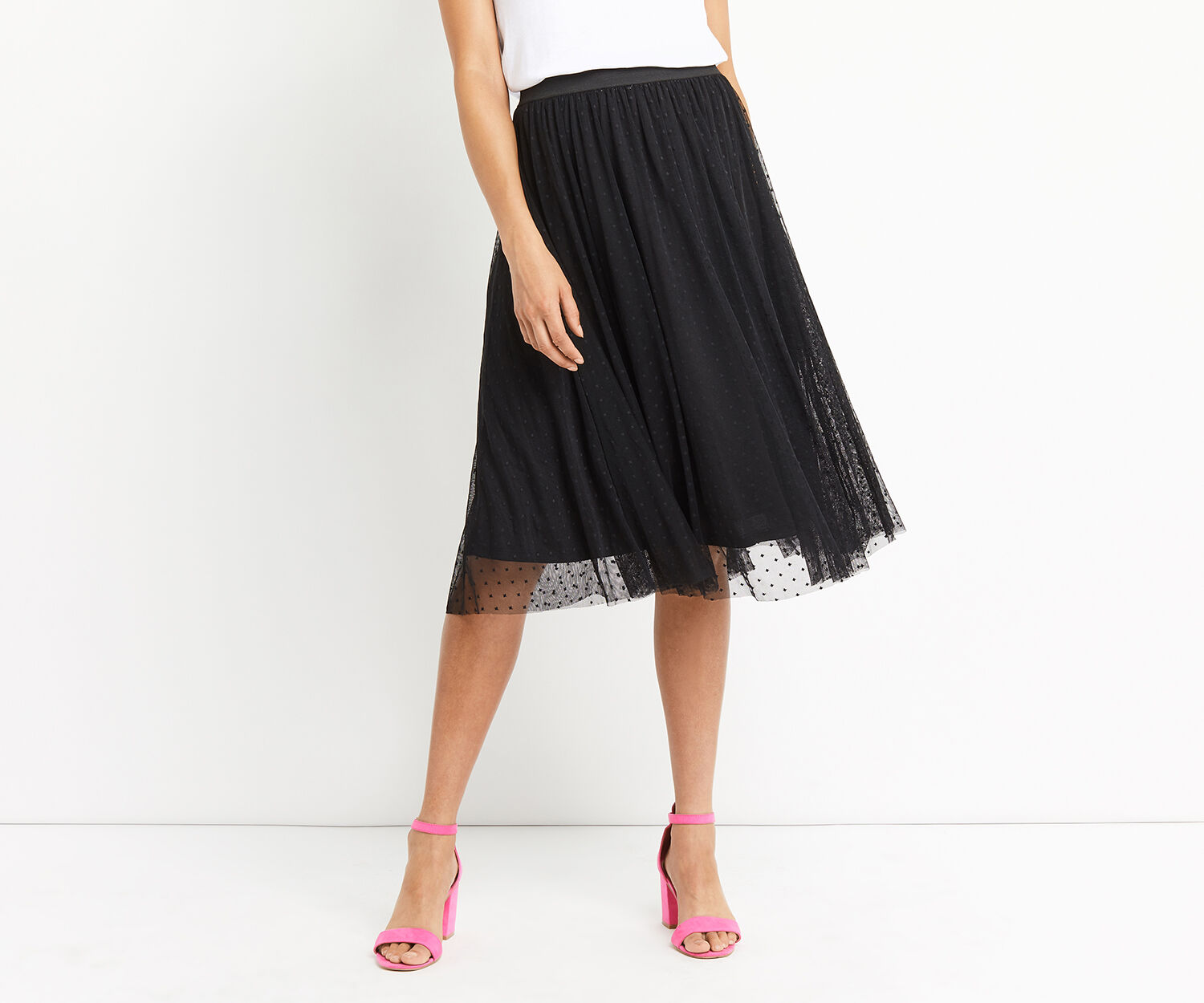 Oasis, SPOT MESH GATHERED SKIRT Black 1