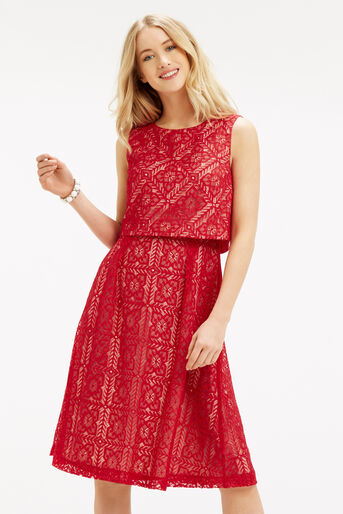 Oasis, Lace 2 In 1 Midi Dress Berry 1