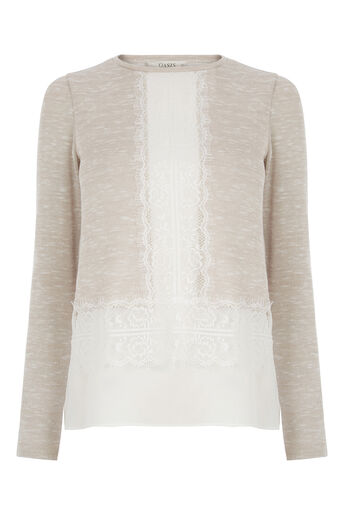 Oasis, LACE DROP SLEEVE TOP Light Neutral 0