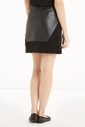 Oasis, Patched Suede & Leather Skirt Black 3