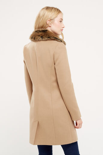 Oasis, FELICITY FORMAL FUR COLLAR COA Camel 3