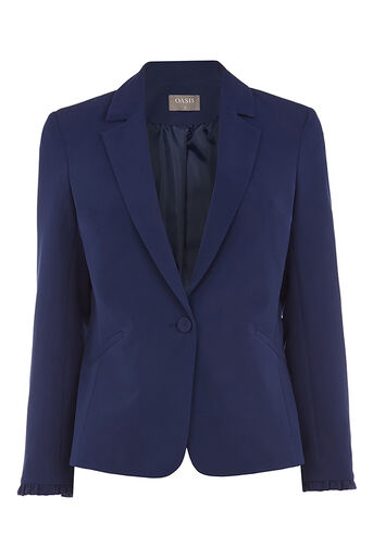 Oasis, FRILL DETAIL SMART JACKET Navy 0