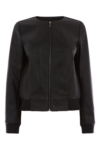 Oasis, FAUX LEATHER BOMBER Black 0