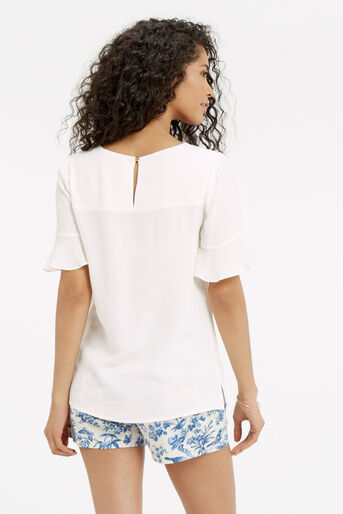 Oasis, FLUTED SLEEVE TOP Off White 3
