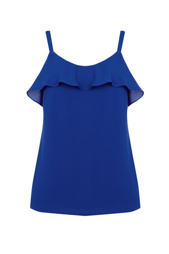 Oasis, Frill Front Cami Mid Blue 0