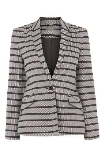 Oasis, Petite Stripe Ponte Jacket Black and White 0