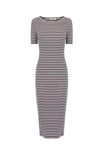 Oasis, STRIPE RUB TUBE DRESS Multi 0