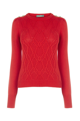 Oasis, BUTTON CABLE KNIT Mid Red 0
