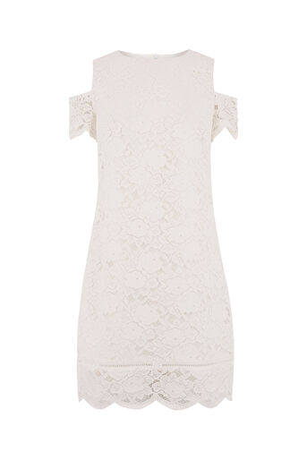 Oasis, COLD SHOULDER LACE DRESS White 0
