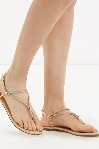 Oasis, Poppy Plait Sandals Gold 1