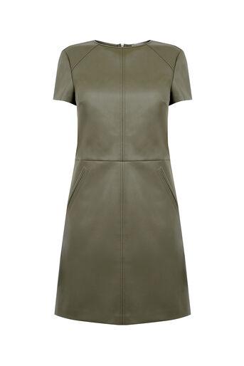 Oasis, FAUX LEATHER SHIFT DRESS Khaki 0