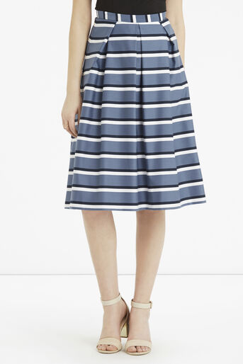 Oasis, Stripe Midi Skirt Multi Blue 1