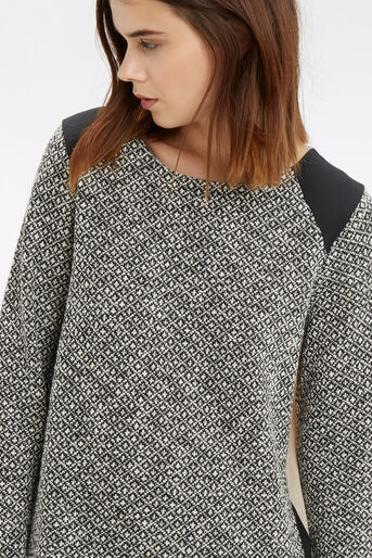 Oasis, Artisan Woven Back Sweat Black and White 4