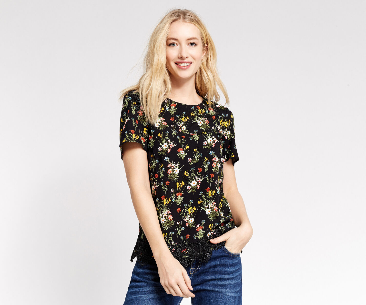Oasis, SPRING BOUQUET TEE Multi Black 1