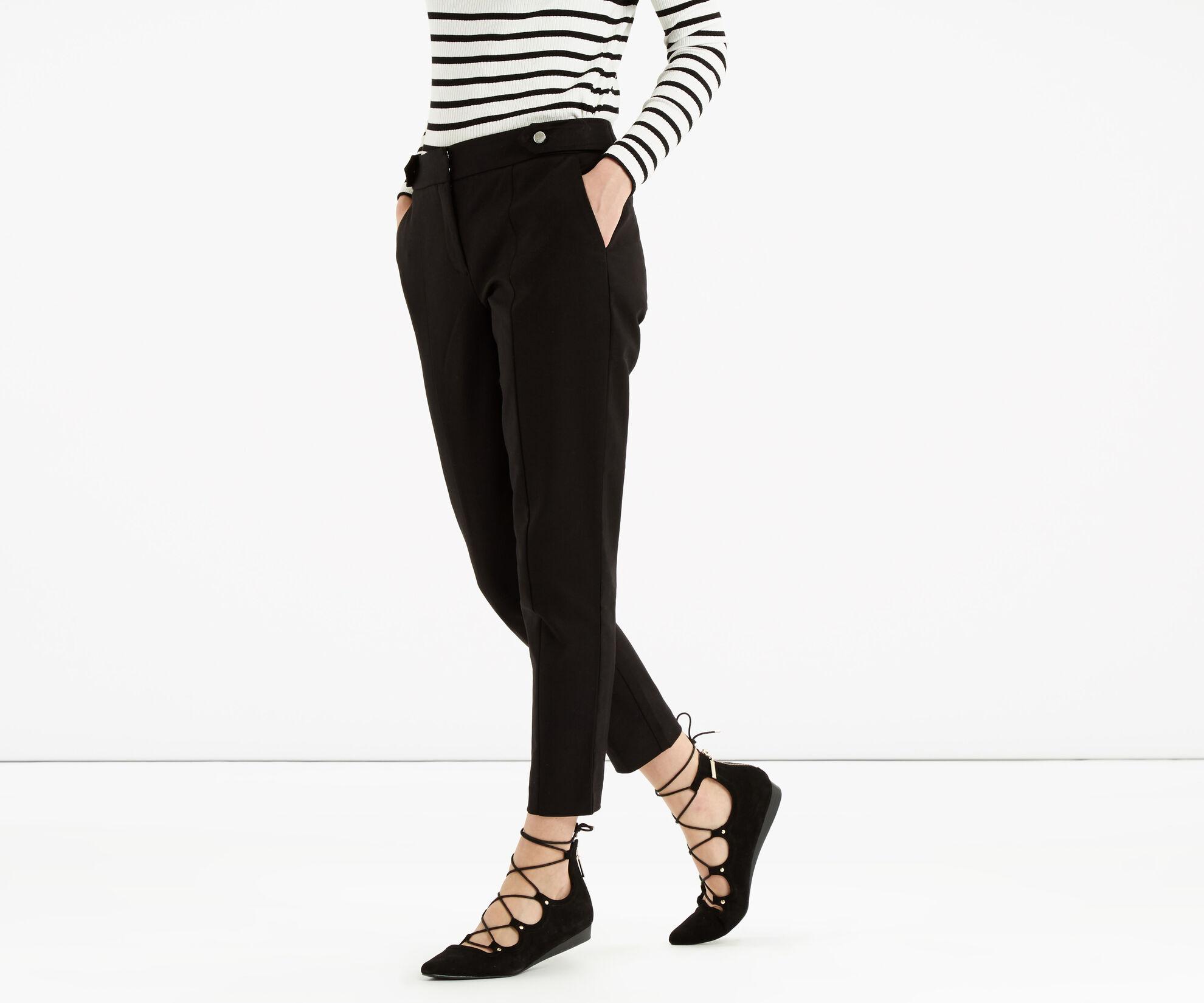Oasis, Cotton Trouser - Shorter Lengt Black 1