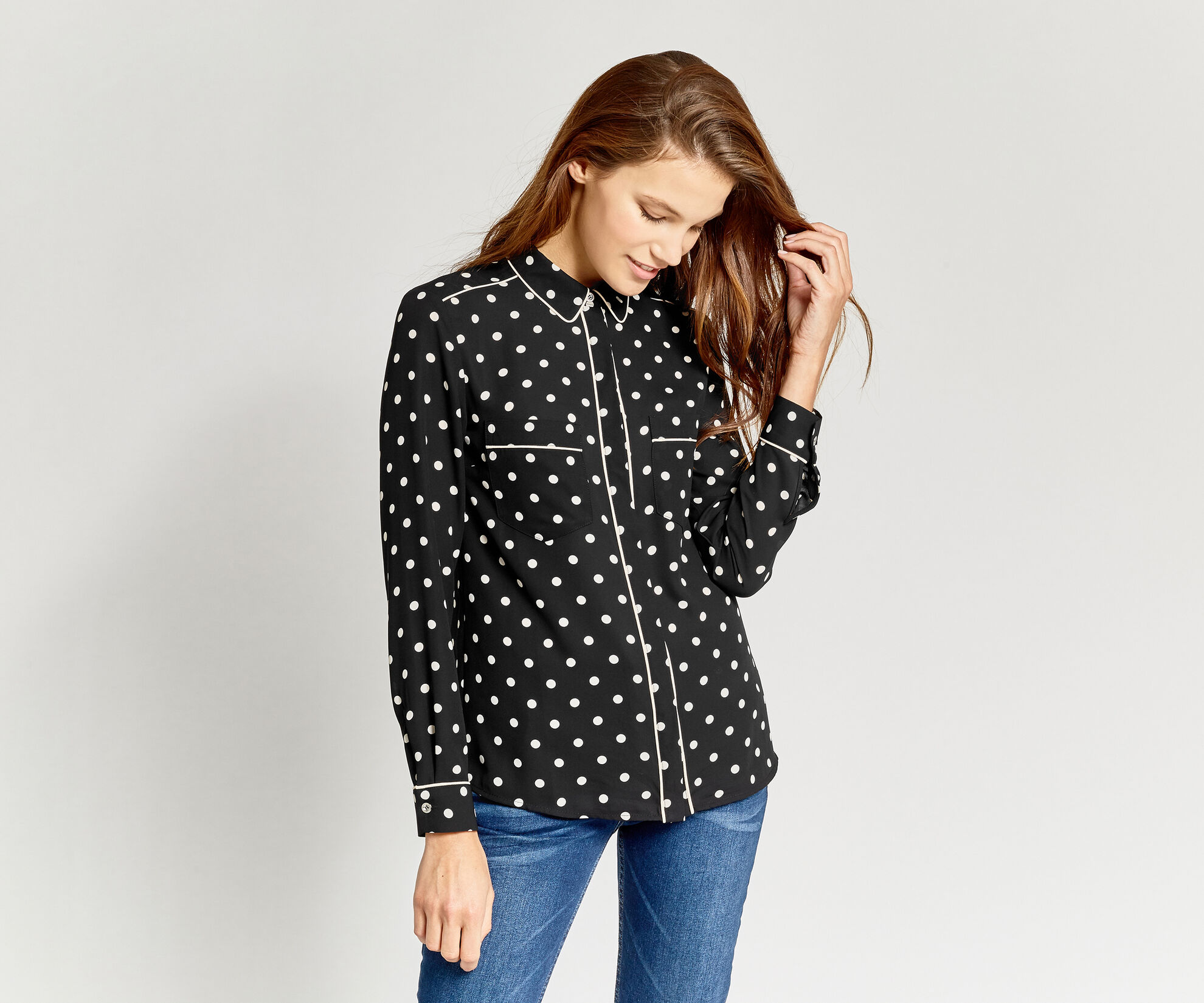 Oasis, SPOTTED SHIRT Black 1