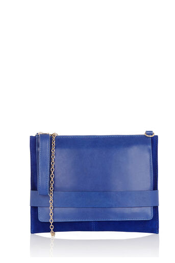 Oasis, Leather Cross-Body Clutch Cobalt Blue 0