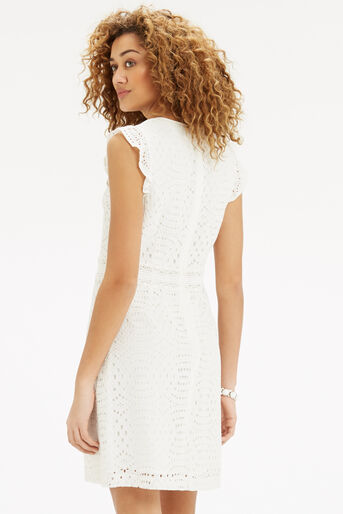 Oasis, Geo Patched Lace Dress Off White 3