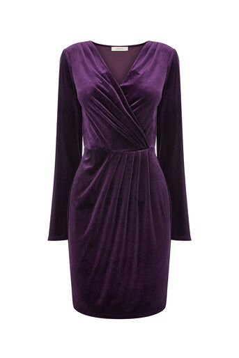Oasis, VELVET ROMANA WRAP DRESS Mid Purple 0
