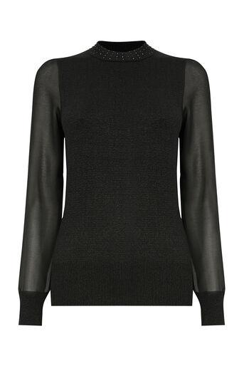 Oasis, Lurex sheer sleeve knit Black 0