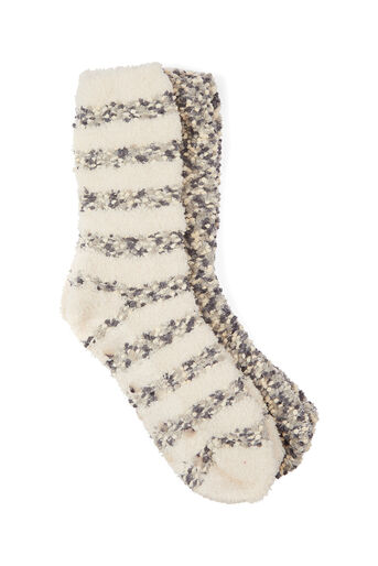Oasis, 2-PACK POPCORN COSY SOCKS Multi Grey 0