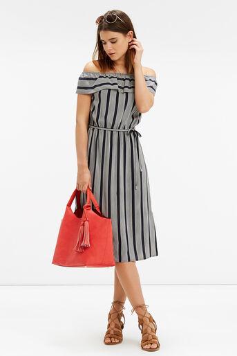 Oasis, Viscose Stripe Ruffle Dress Multi 2