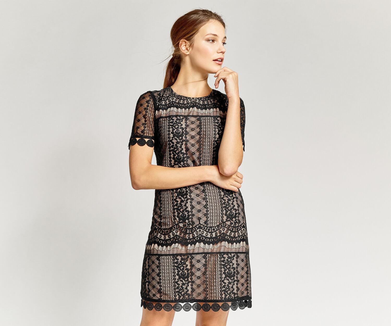 Oasis, GRAPHIC LACE SHIFT DRESS Black 1
