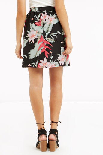 Oasis, Tropical Belted Skirt Multi Black 3