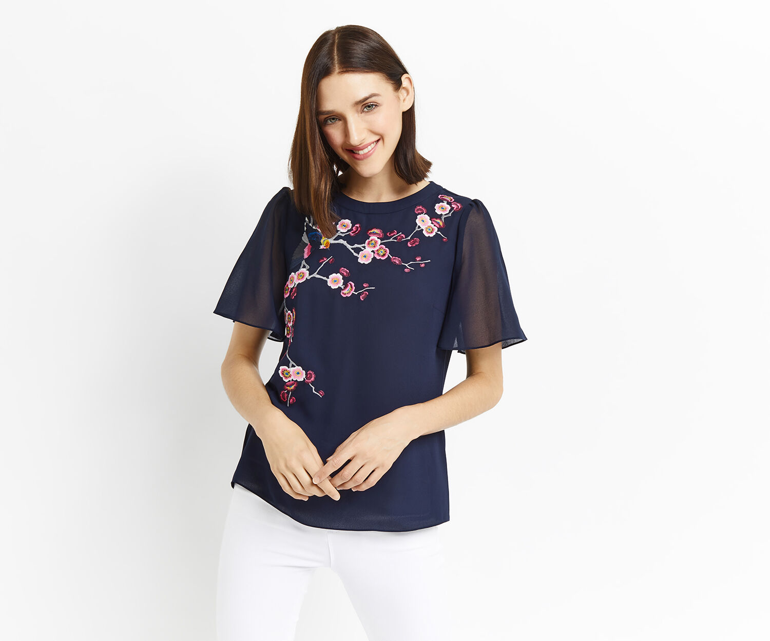 Oasis, EMBROIDERED ANGEL SLEEVE TOP Navy 1