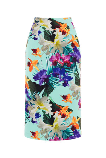 Oasis, TROPICAL PENCIL SKIRT Multi Green 0