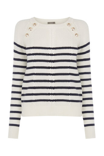 Oasis, Military stripe cable knit Multi Blue 0