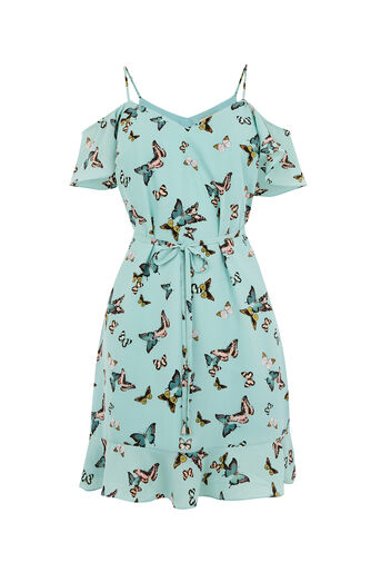 Oasis, BUTTERFLY COLD SHOULDER DRESS Multi Blue 0