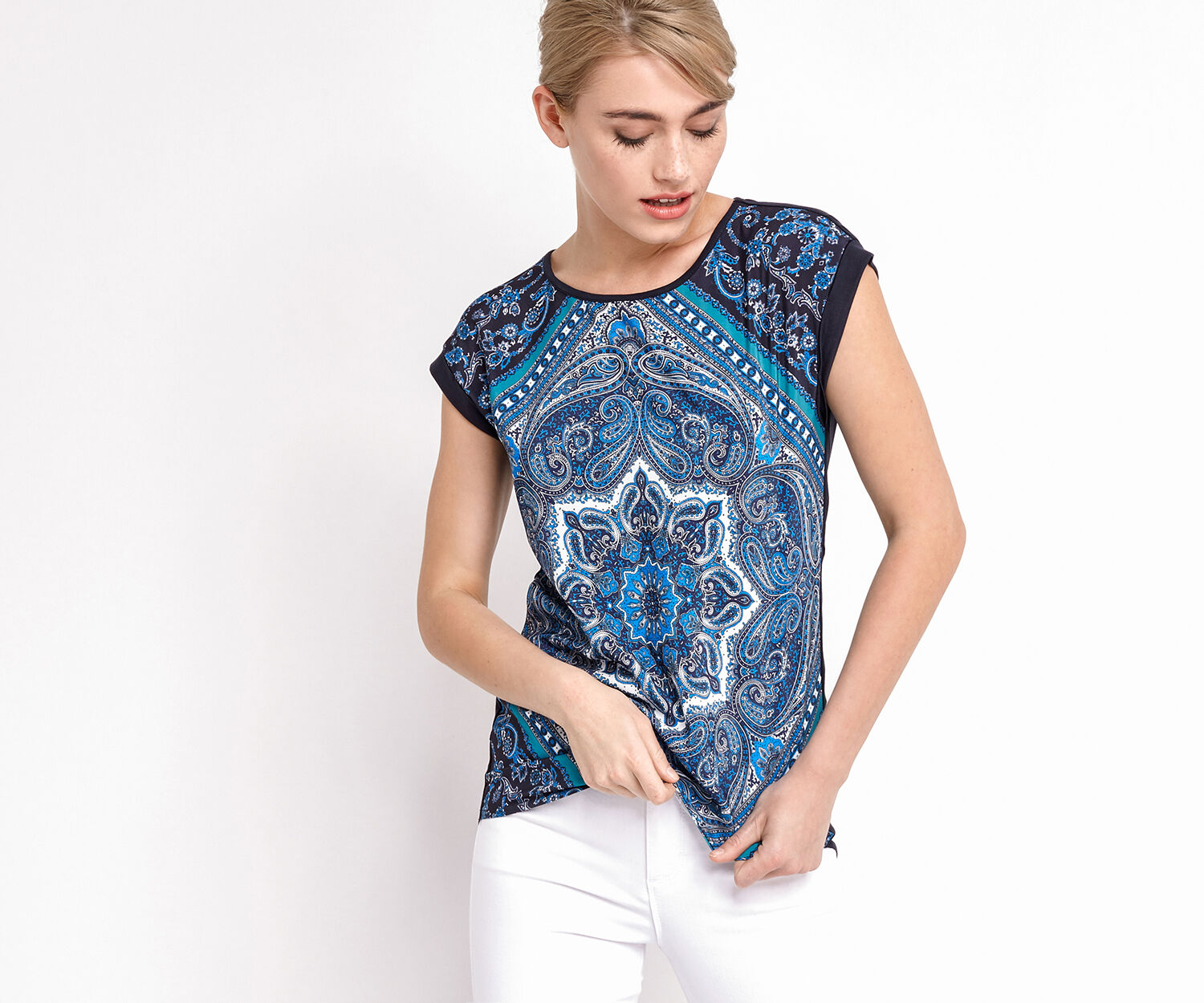 Oasis, CHRISTY WOVEN FRONT TOP Multi Blue 1