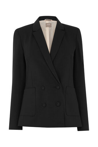 Oasis, DOUBLE BREASTED SLUB BLAZER Black 0