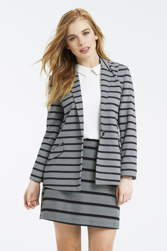 Oasis, Petite Stripe Ponte Jacket Black and White 1