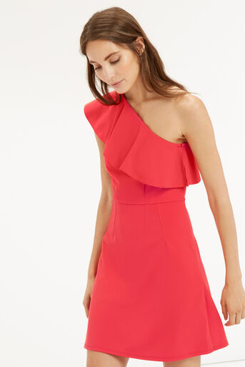 Oasis, RUFFLE ONE SHOULDER DRESS Mid Red 0